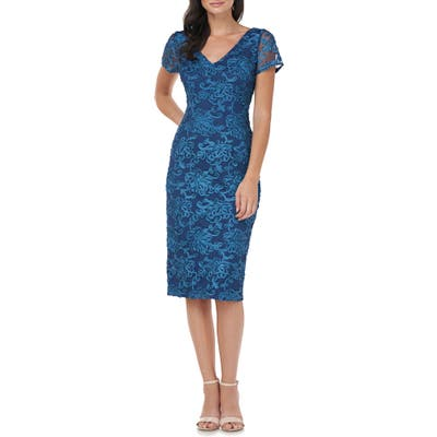 Js Collections Soutache Embroidered V-Neck Cocktail Dress, Blue