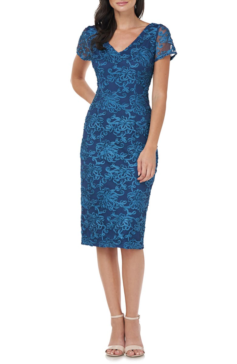 JS COLLECTIONS Soutache Embroidered V-Neck Cocktail Dress, Main, color, MINERAL BLUE