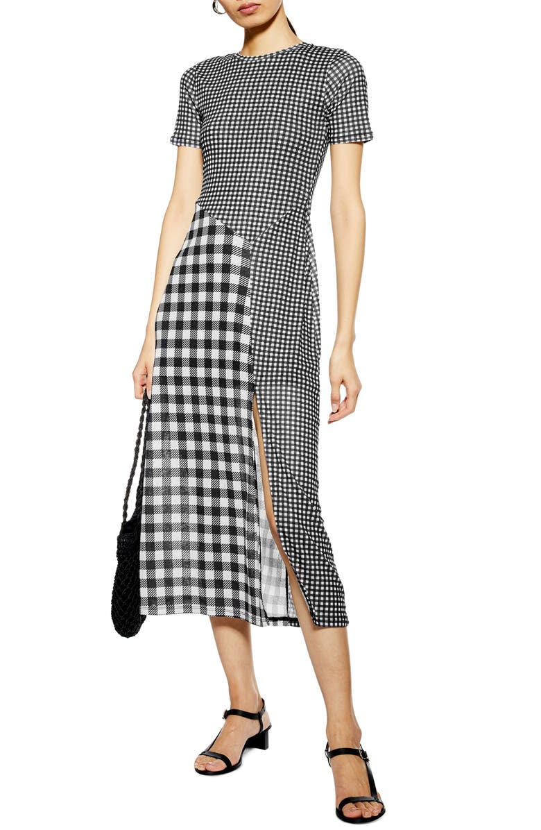TOPSHOP Gingham Midi Dress, Main, color, BLACK MULTI