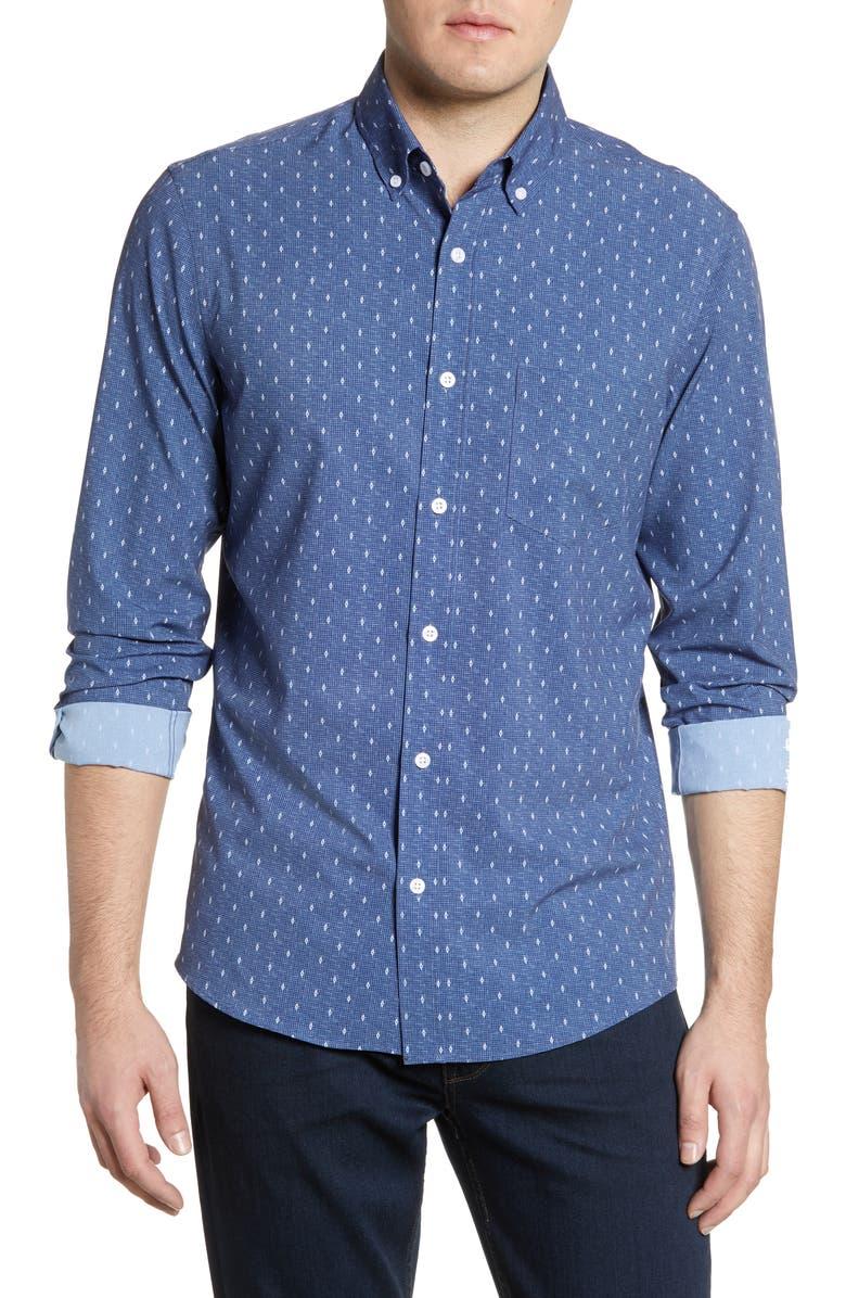 NORDSTROM MEN'S SHOP Trim Fit Non-Iron Button-Down Sport Shirt, Main, color, 410