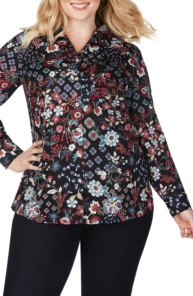 FOXCROFT Lucca Floral Medallion Mix Shirt, Main, color, MULTI