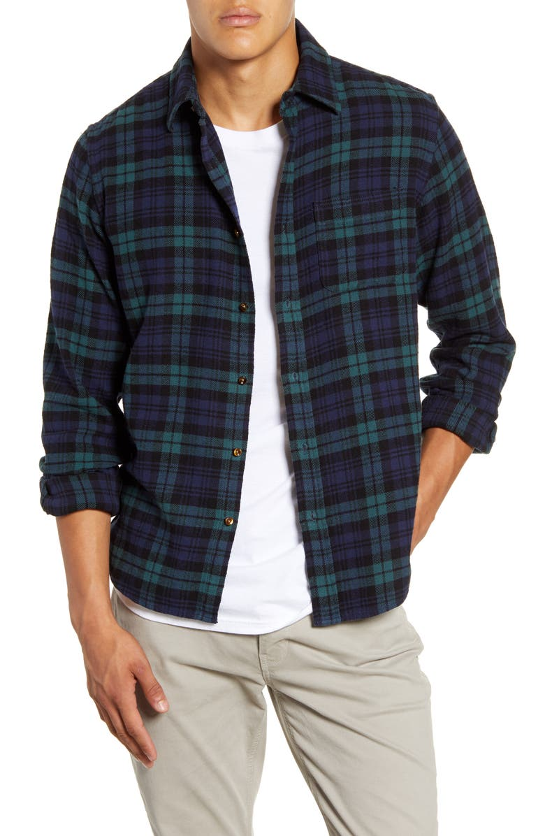 ALEX MILL Easy Slim Fit Plaid Flannel Button-Up Shirt, Main, color, GREEN/ NAVY
