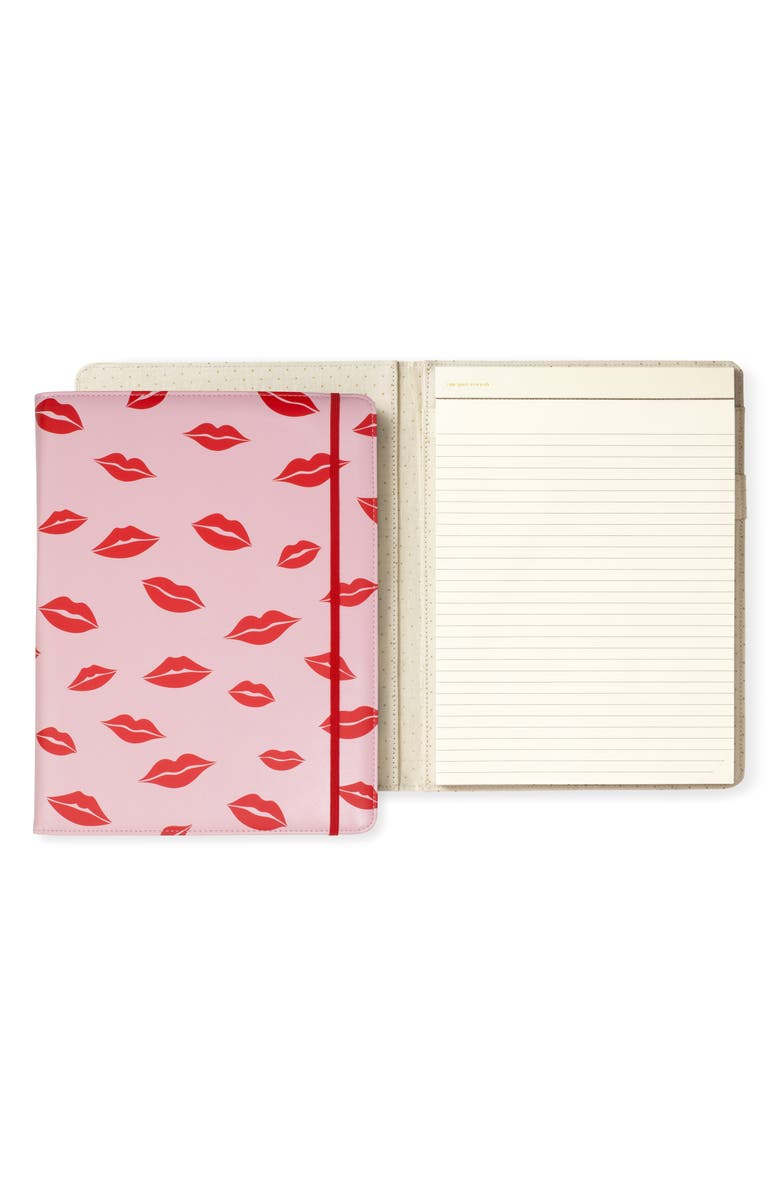 KATE SPADE NEW YORK lips notepad folio, Main, color, PINK