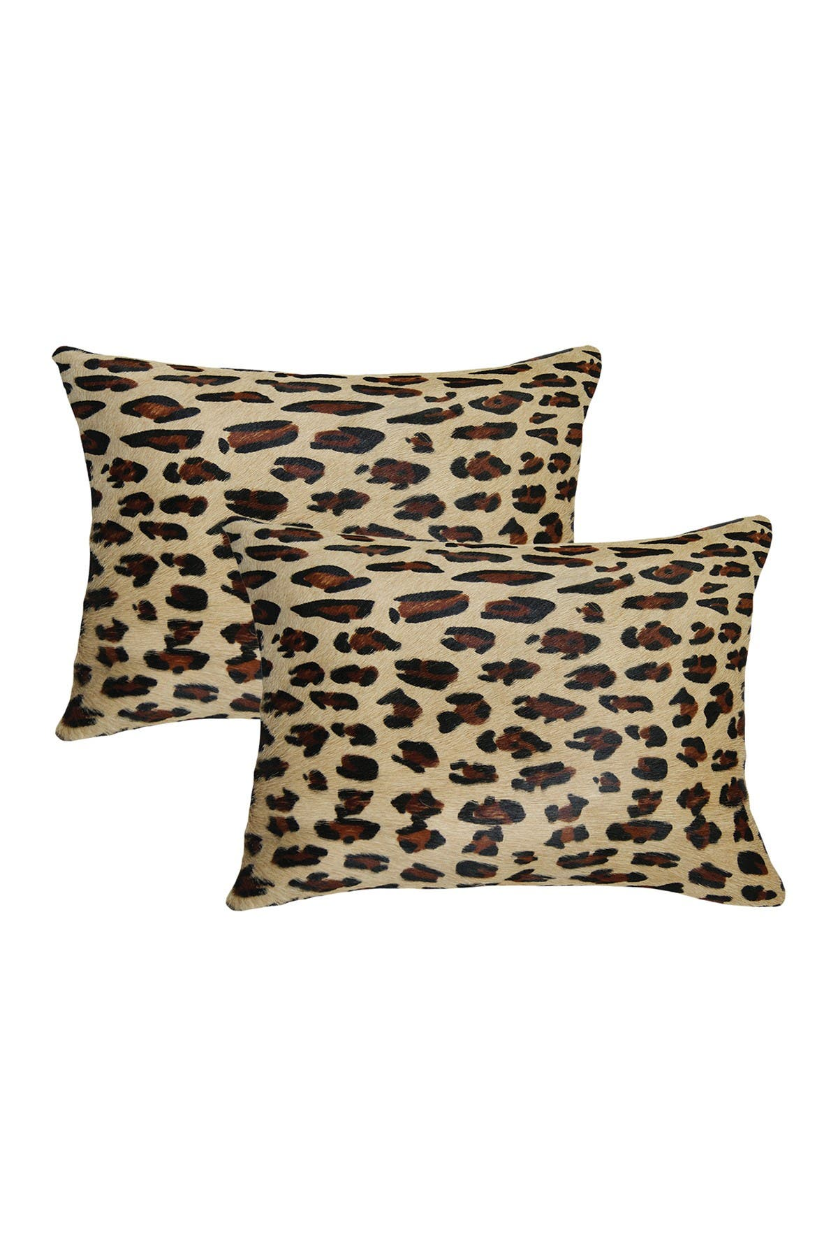 """Image of Natural Torino Togo Cowhide Pillow 12"""" x 20"""" - Leopard - Pack of 2"""