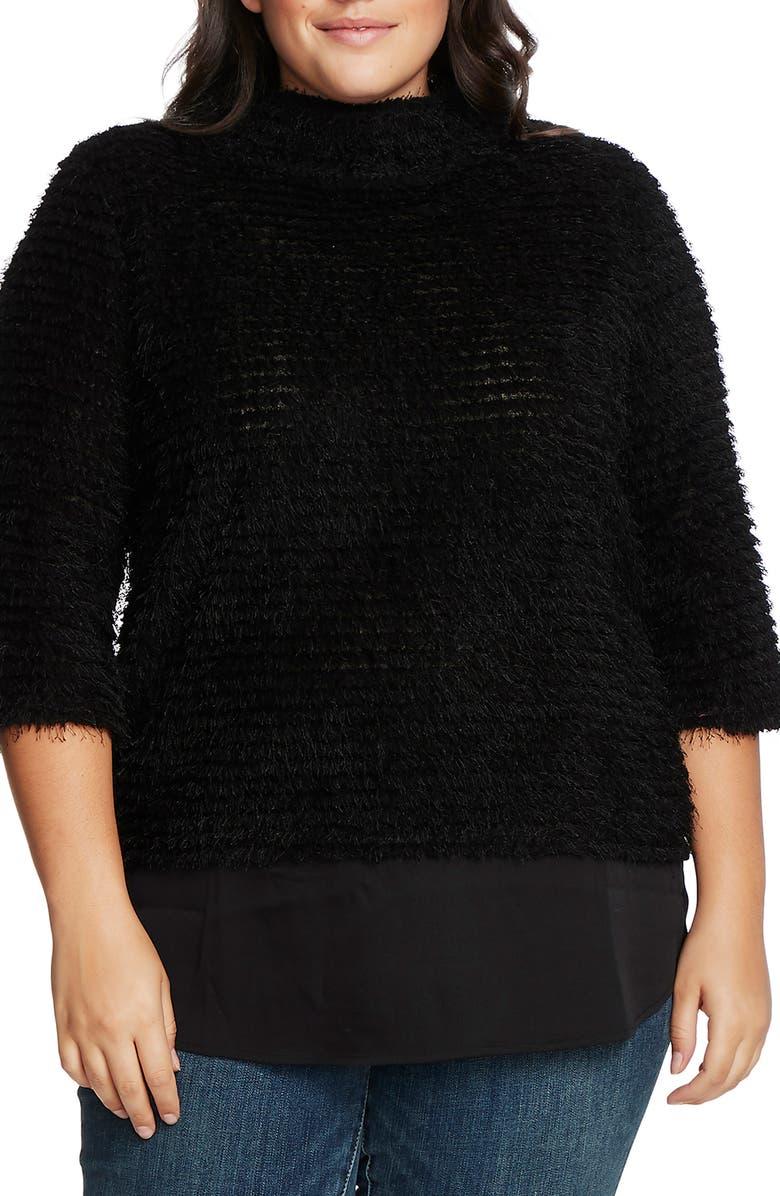 VINCE CAMUTO Eyelash Chenille Sweater, Main, color, RICH BLACK