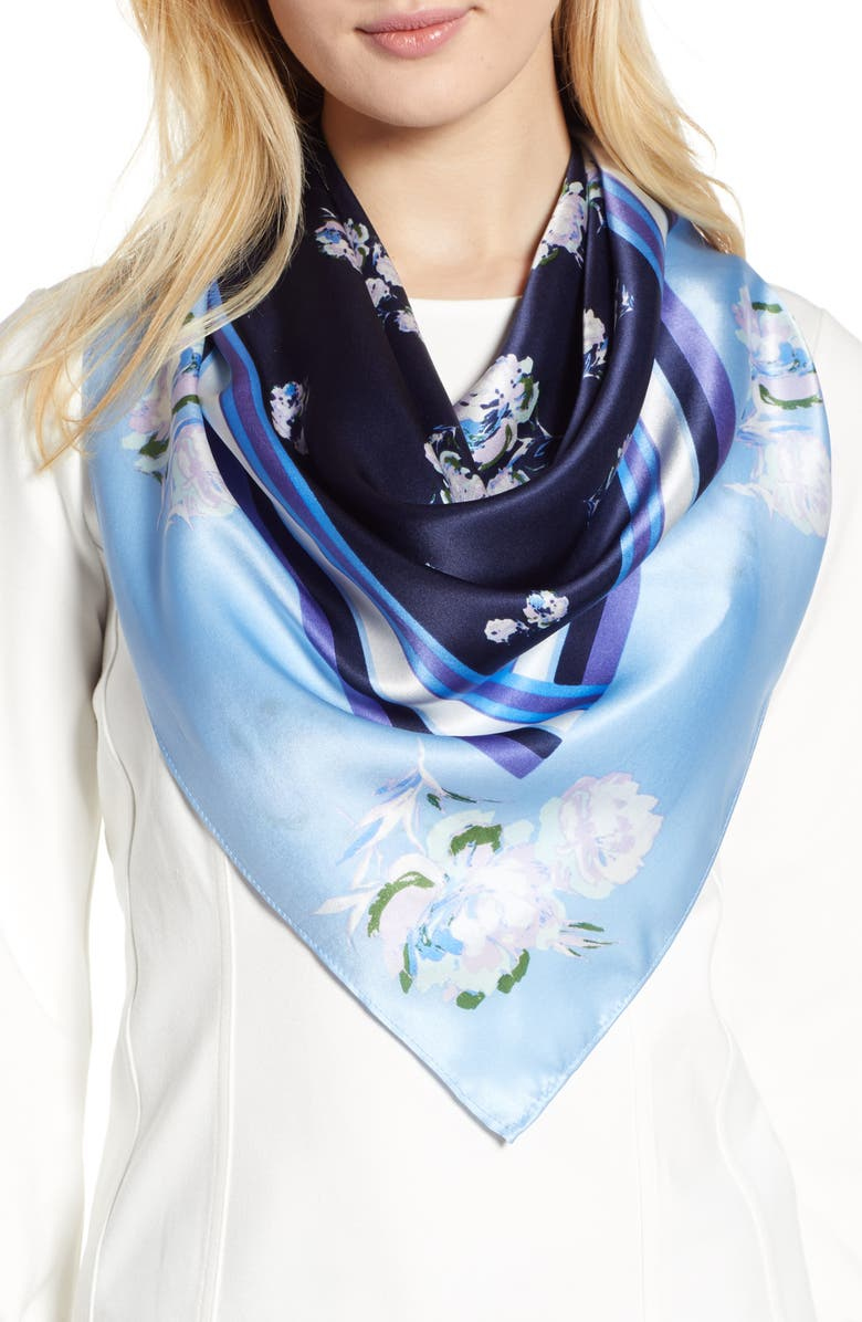 HALOGEN<SUP>®</SUP> Print Silk Scarf, Main, color, NAVY RORY FLORAL