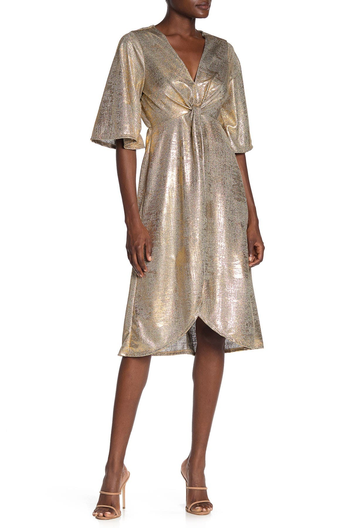 Image of SUPERFOXX Wrap Front Metallic Jersey Dress