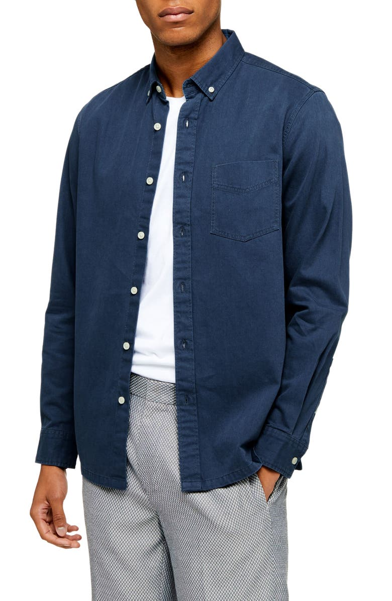 TOPMAN Classic Fit Button-Down Twill Shirt, Main, color, NAVY BLUE