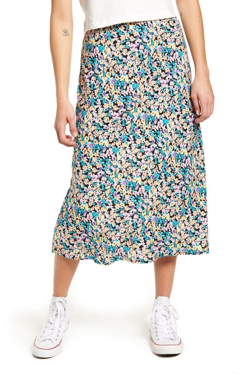 LOVE, FIRE Print Midi Skirt, Main, color, DITSY FLORAL
