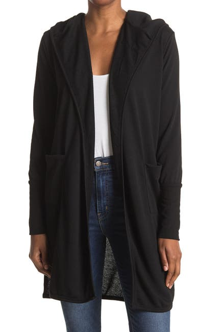 Image of Sweet Romeo Hooded Open Front Long Cardigan