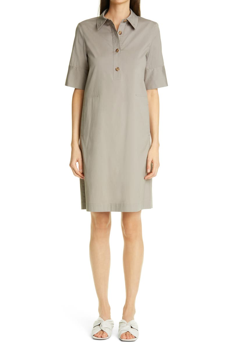 LAFAYETTE 148 NEW YORK Conroy Classic Stretch Cotton Blend Shirtdress, Main, color, MINK GREY