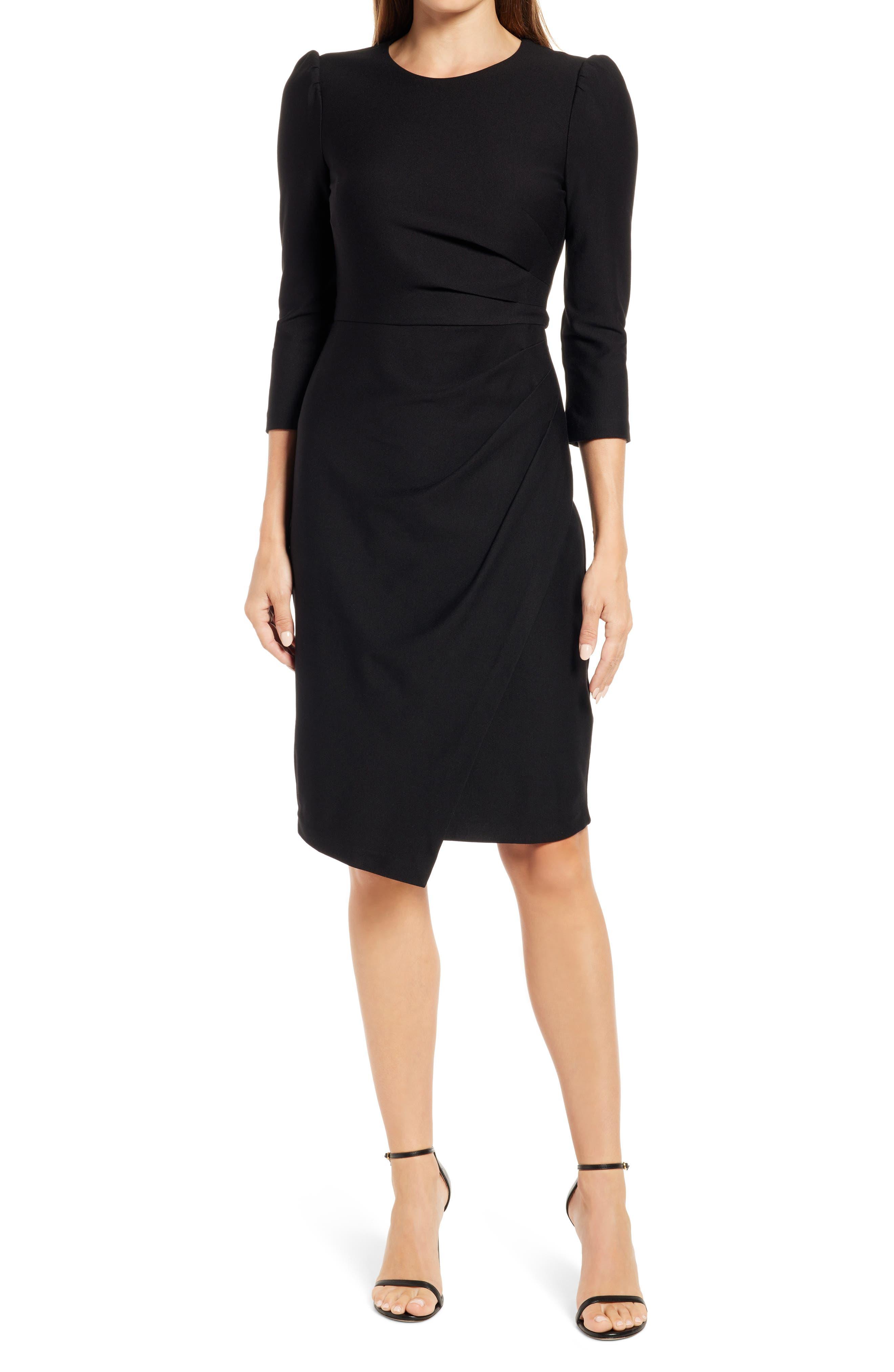 Pleat Asymmetric Long Sleeve Sheath Dress
