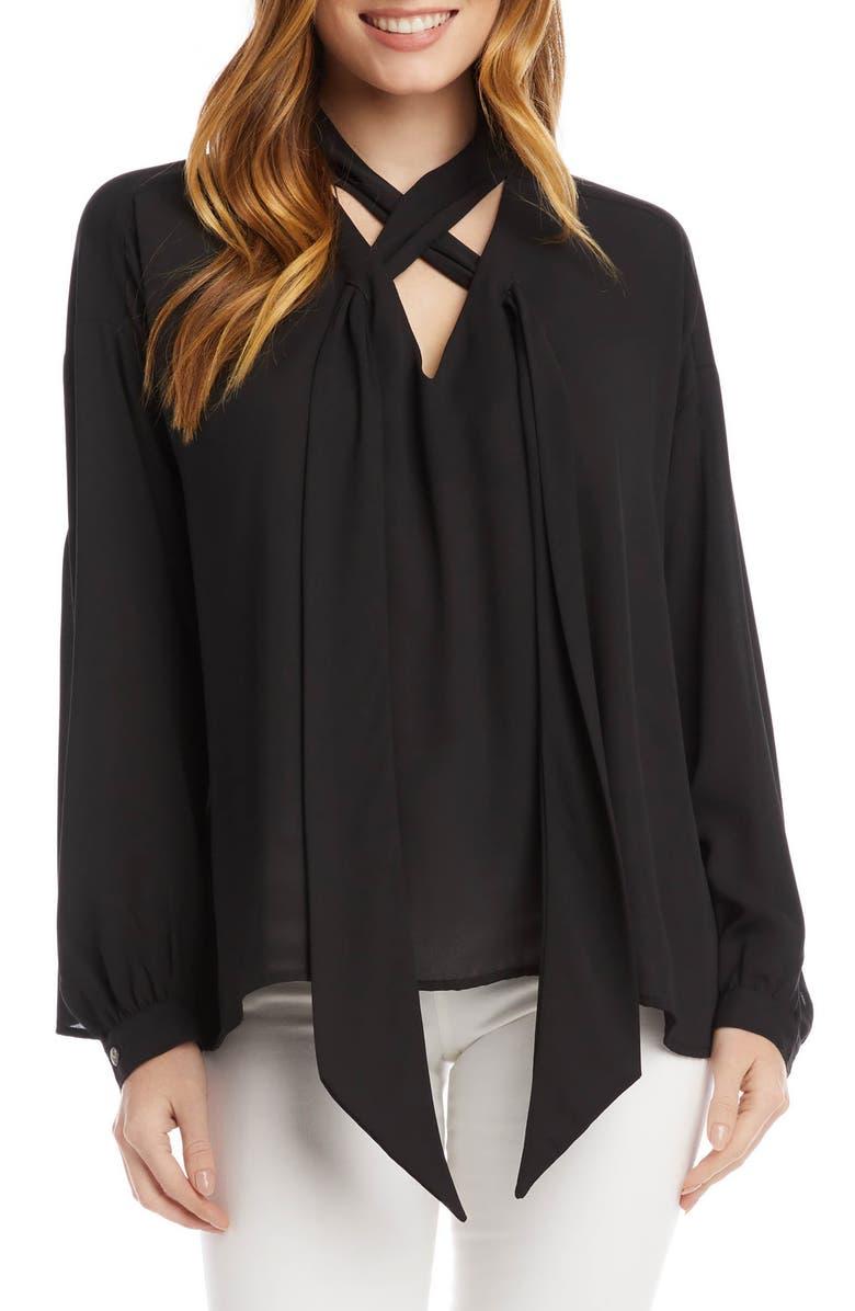 KAREN KANE Tie Neck Blouse, Main, color, BLACK