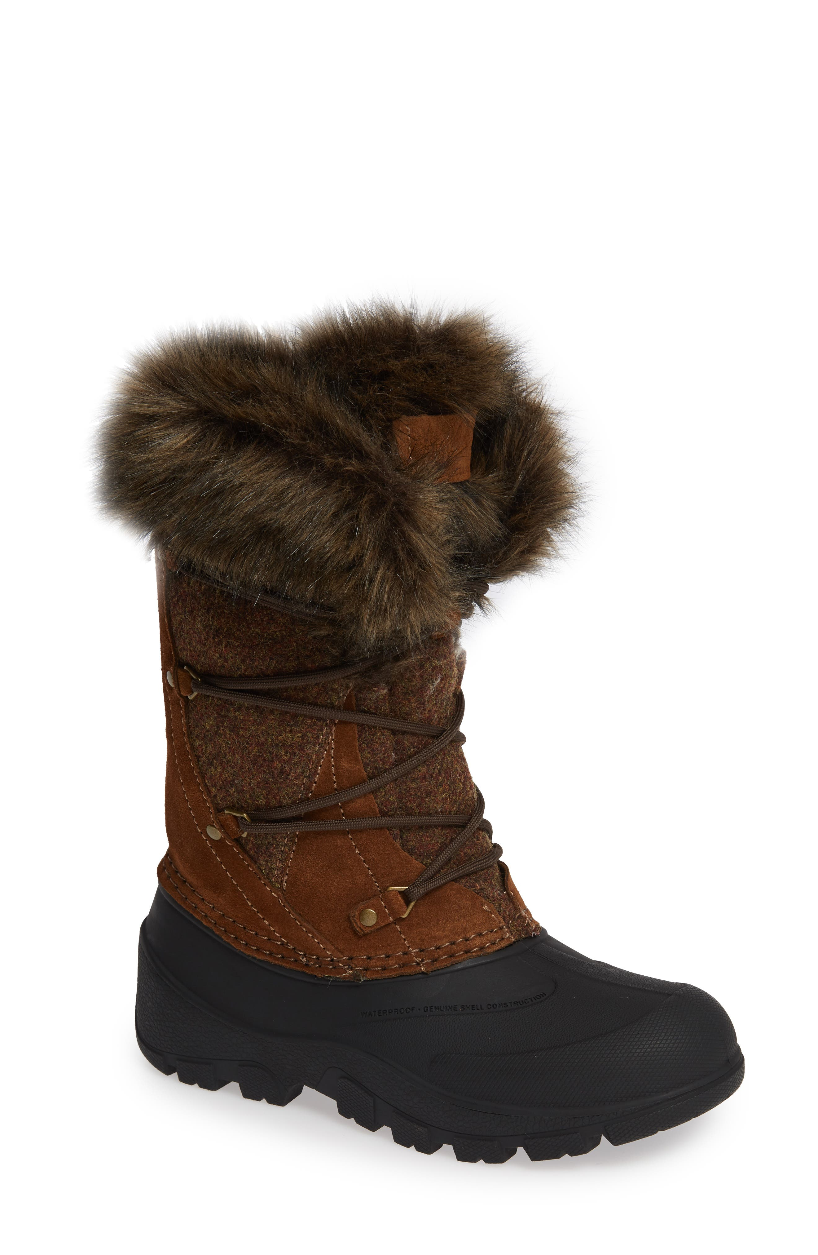 Woolrich Ice Cougar Waterproof Knee High Winter Boot With Faux Fur Trim, Brown