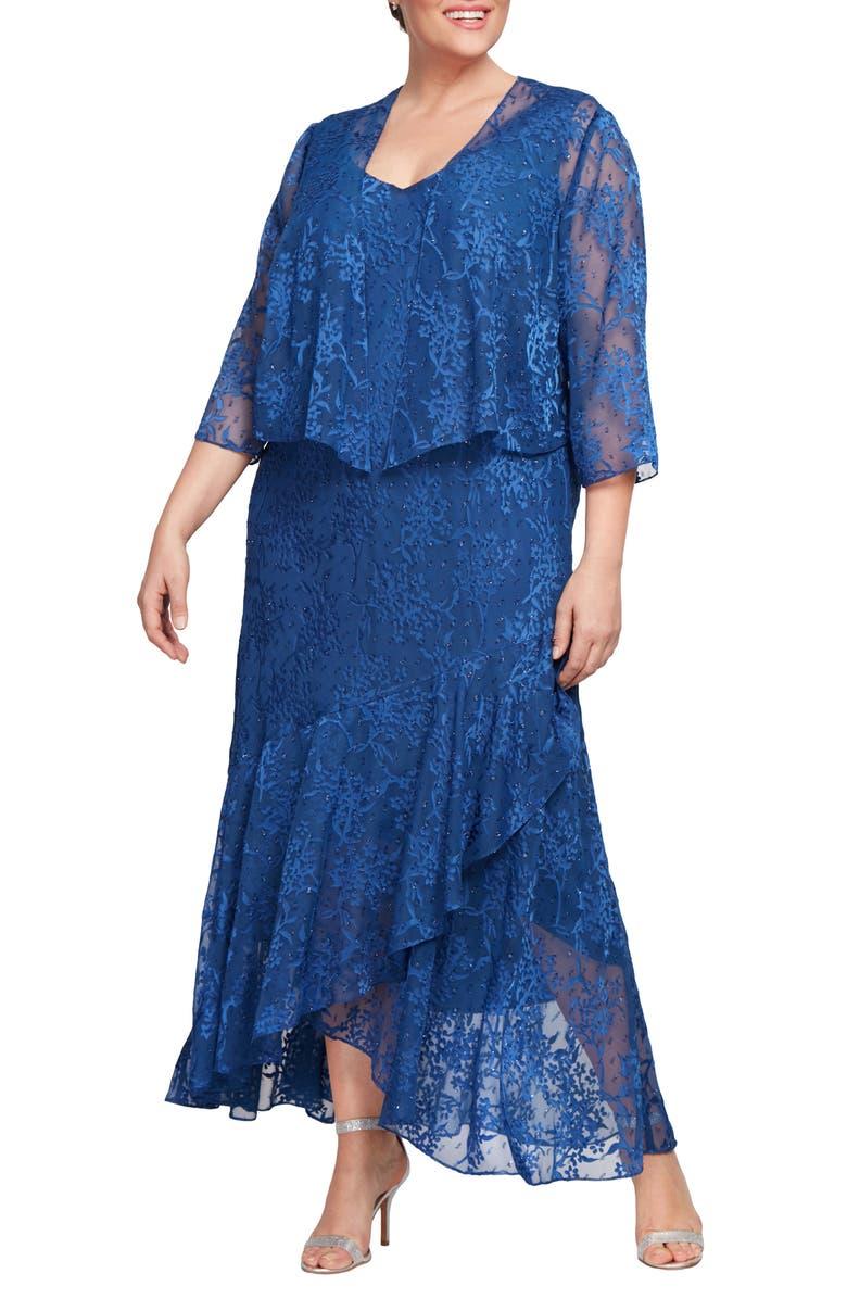 ALEX EVENINGS Textured Floral Burnout High/Low Dress with Jacket, Main, color, ROYAL