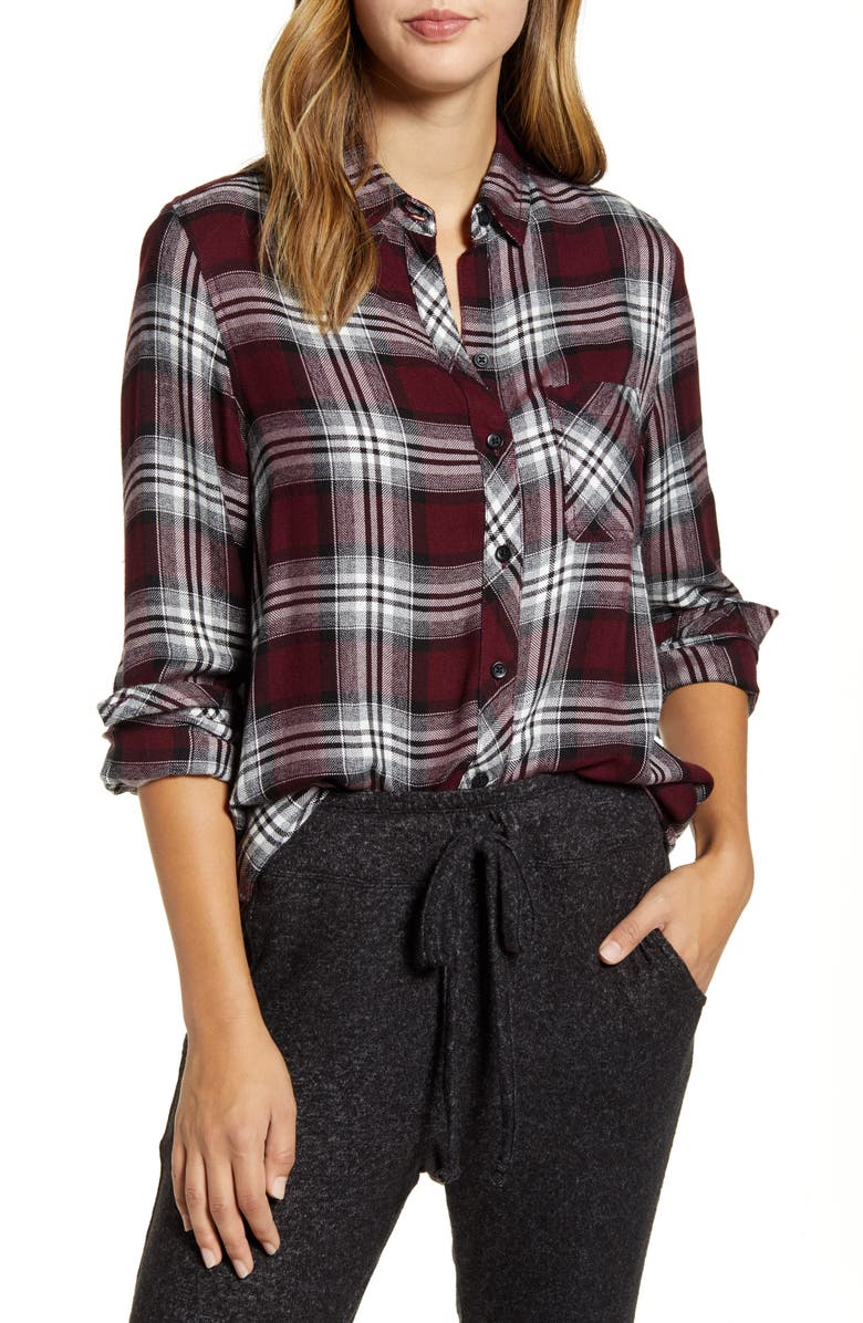 BEACHLUNCHLOUNGE Plaid Button-Up Shirt, Main, color, AMORE