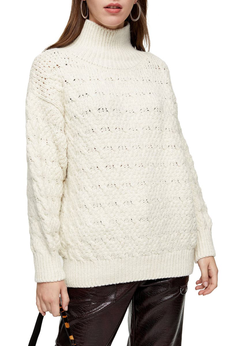 TOPSHOP Textured Funnel Neck Sweater, Main, color, 900