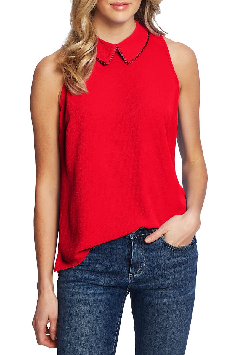 CECE Collared Sleeveless Top, Main, color, CHERRY ROSE