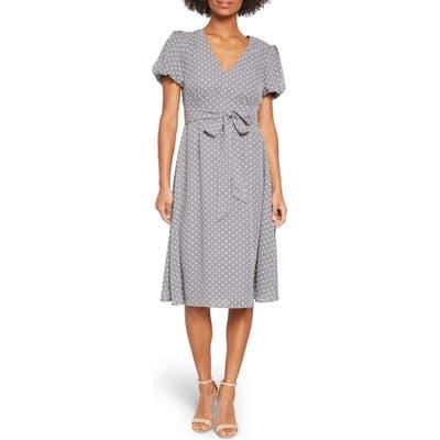Modcloth Clip Dot Puff Sleeve Dress, Grey