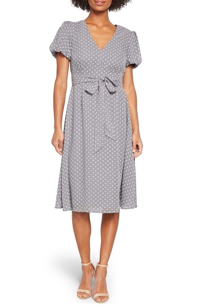 MODCLOTH Clip Dot Puff Sleeve Dress, Main, color, GREY