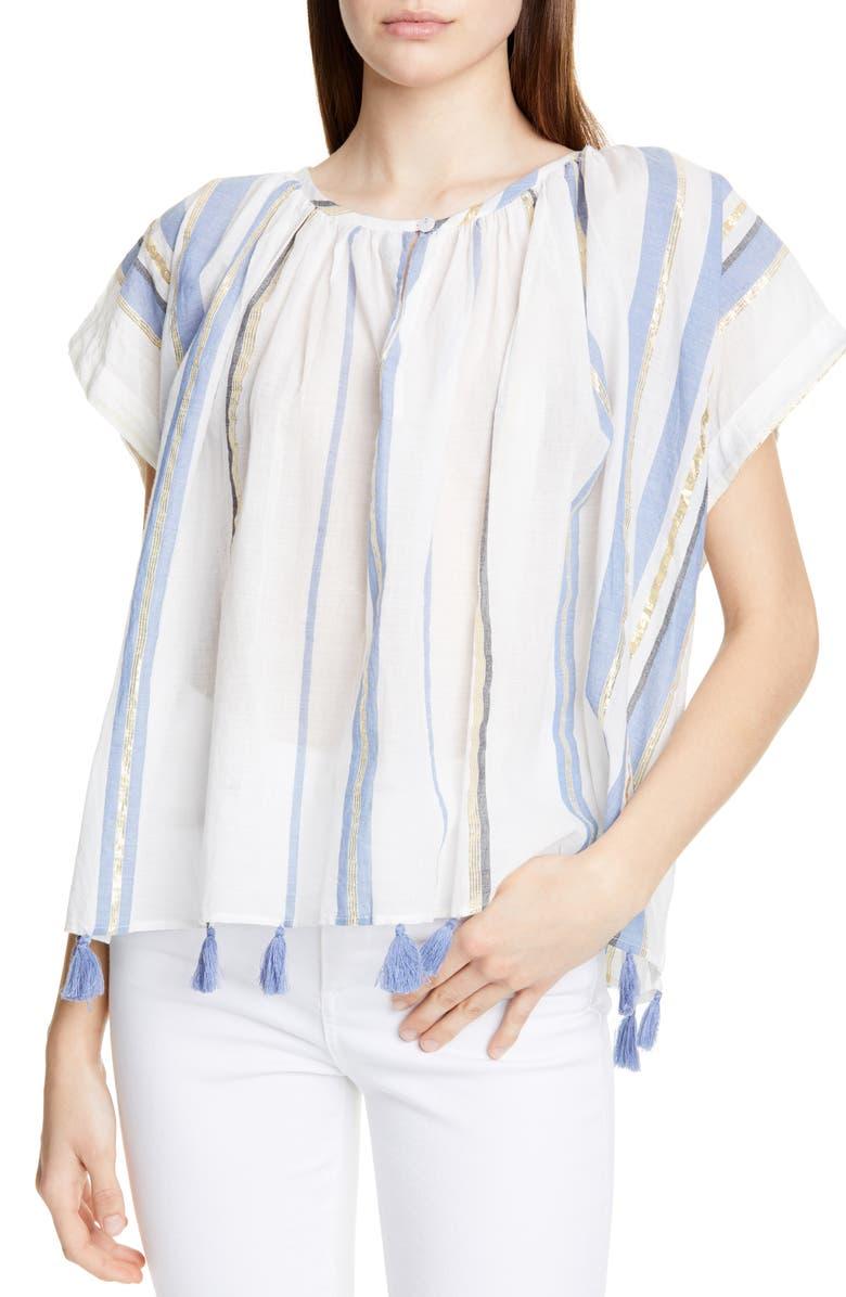 MES DEMOISELLES Azur Tassel Hem Metallic Detail Cotton Blouse, Main, color, 450