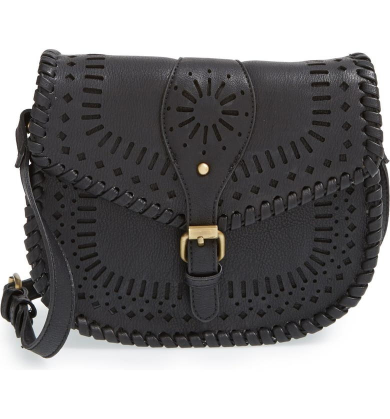 SOLE SOCIETY 'Kianna' Perforated Faux Leather Crossbody Bag, Main, color, BLACK