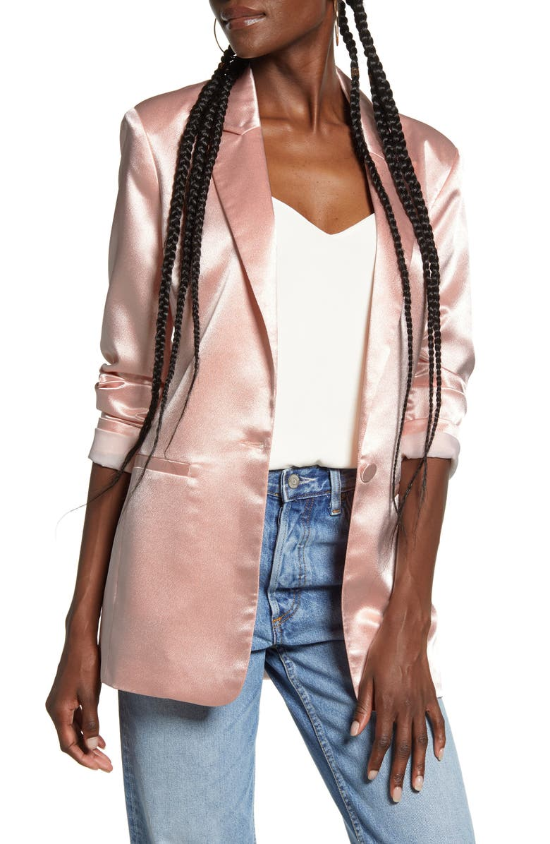 ENDLESS ROSE Satin Front Button Jacket, Main, color, 650