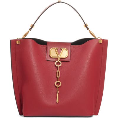 Valentino Garavani Go Logo Escape Leather Hobo Bag - Red