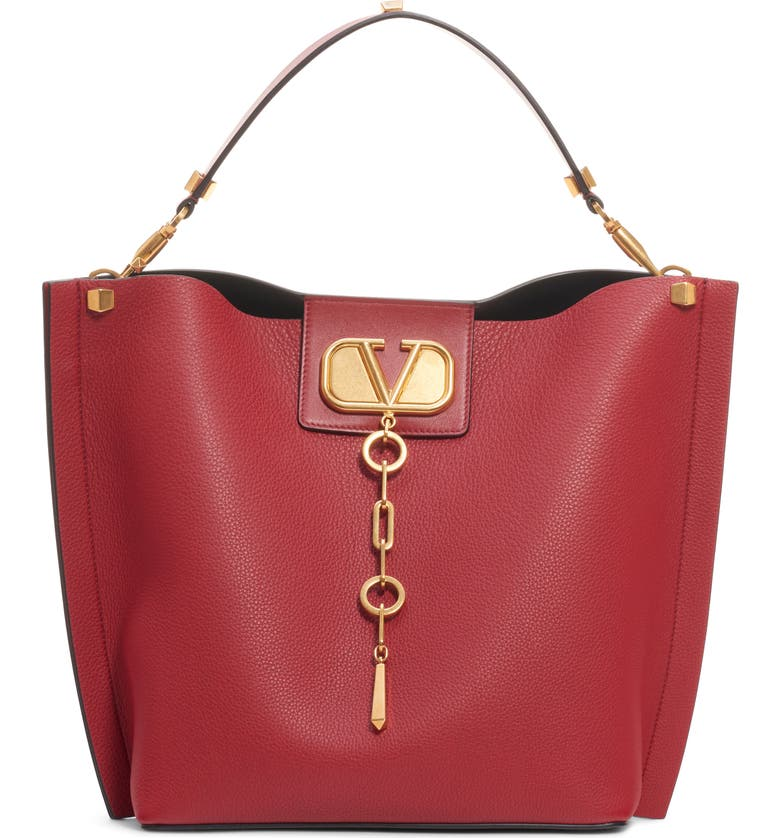 VALENTINO GARAVANI Go Logo Escape Leather Hobo Bag, Main, color, ROSSO/ ROSSO