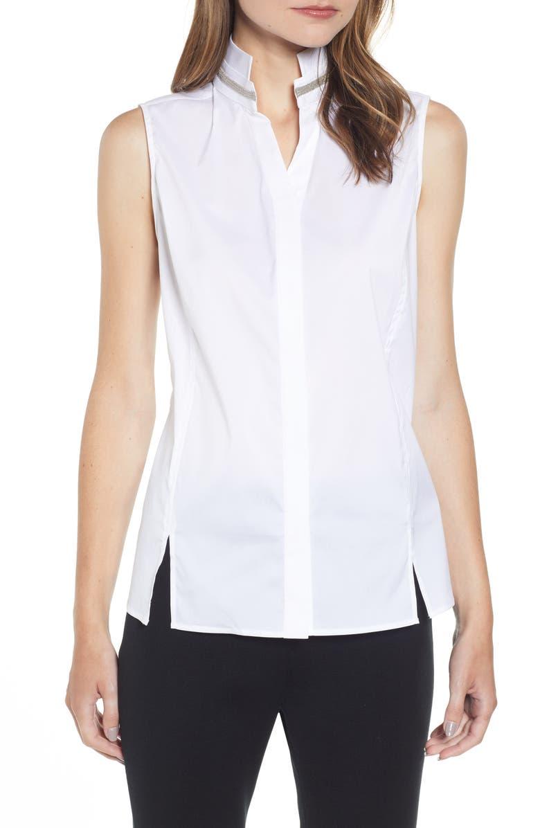 MING WANG Sleeveless Beaded Neck Blouse, Main, color, WHITE