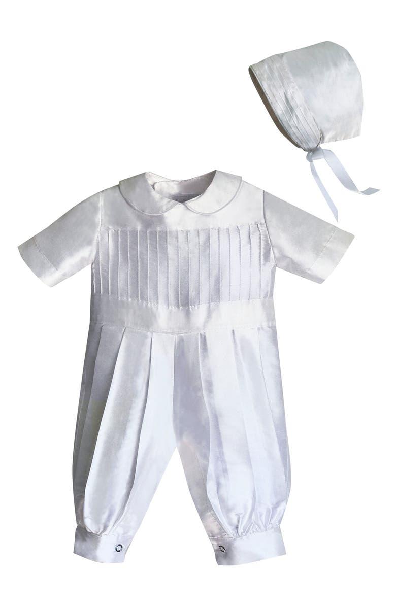 Isabel Garreton Tucked Silk Romper Bonnet Baby
