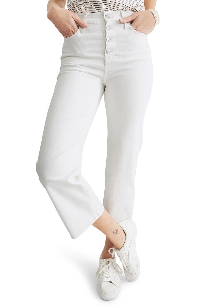 MADEWELL Slim Wide-Leg Crop Jeans: Button-Front Edition, Main, color, TILE WHITE