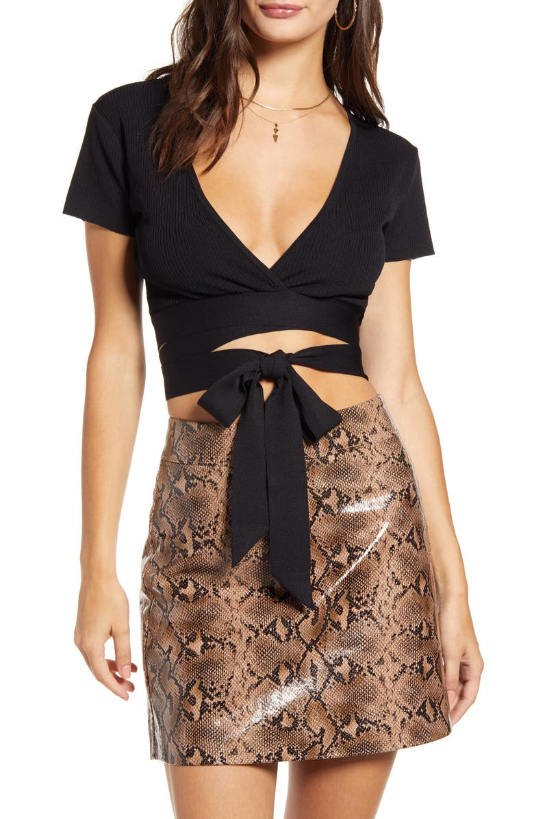 TIGER MIST Tiger Lucy Wrap Crop Top, Main, color, BLACK