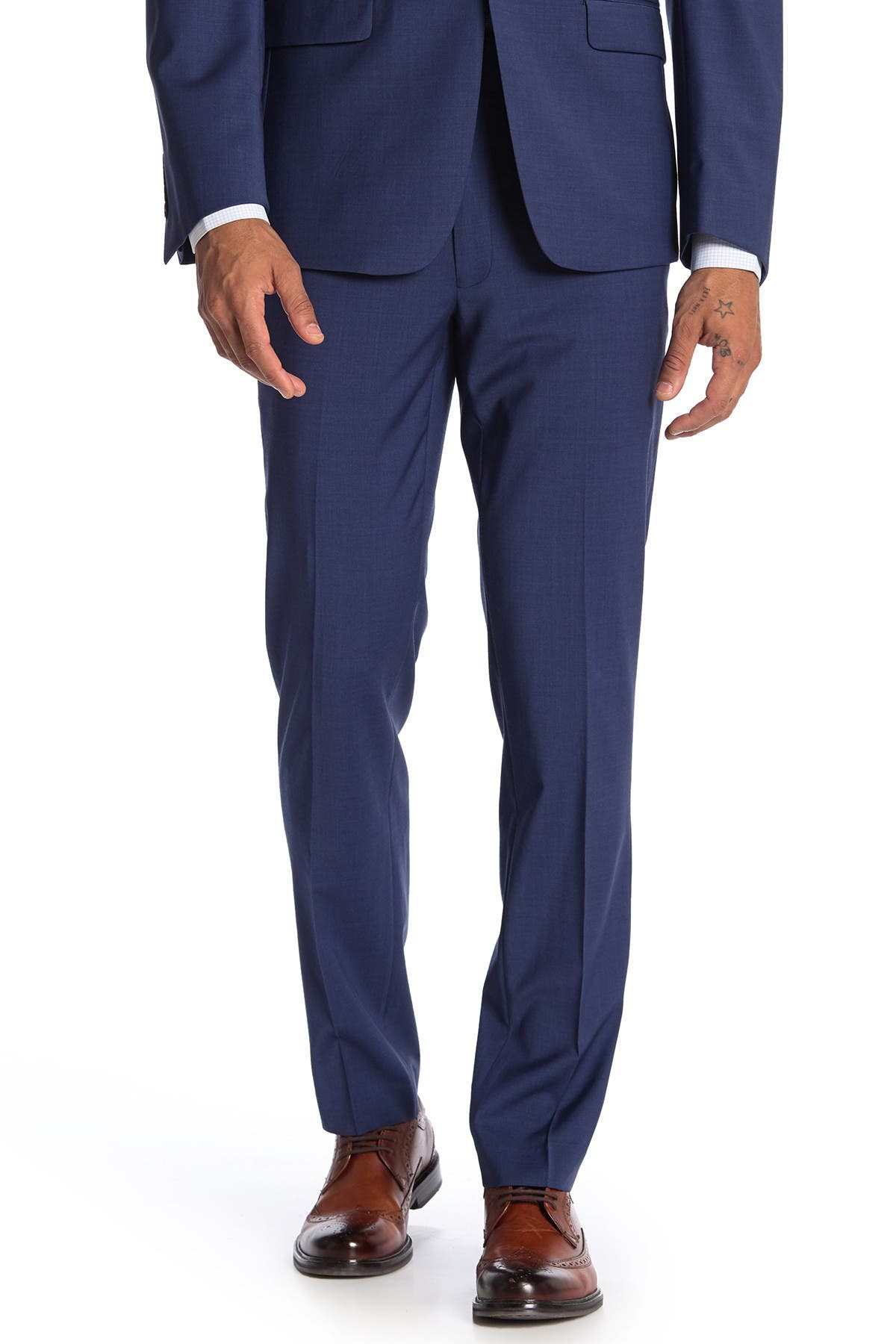 Image of Calvin Klein Twill Blue Skinny Fit Suit Separate Pants