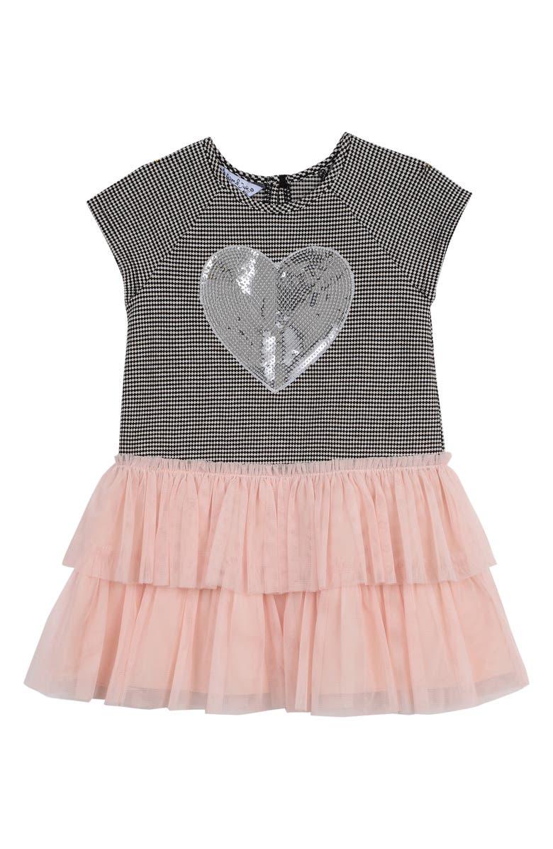 PIPPA & JULIE Sequin Heart Dress, Main, color, BLACK/ BLUSH
