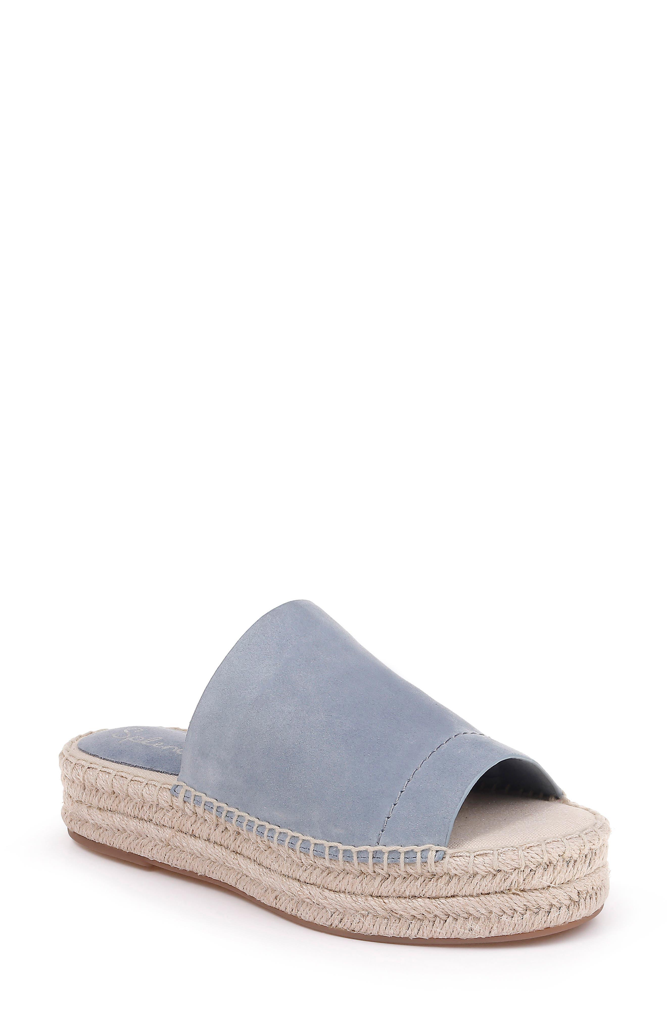 Thaddeus Espadrille Slide Sandal, Main, color, LIGHT BLUE SUEDE
