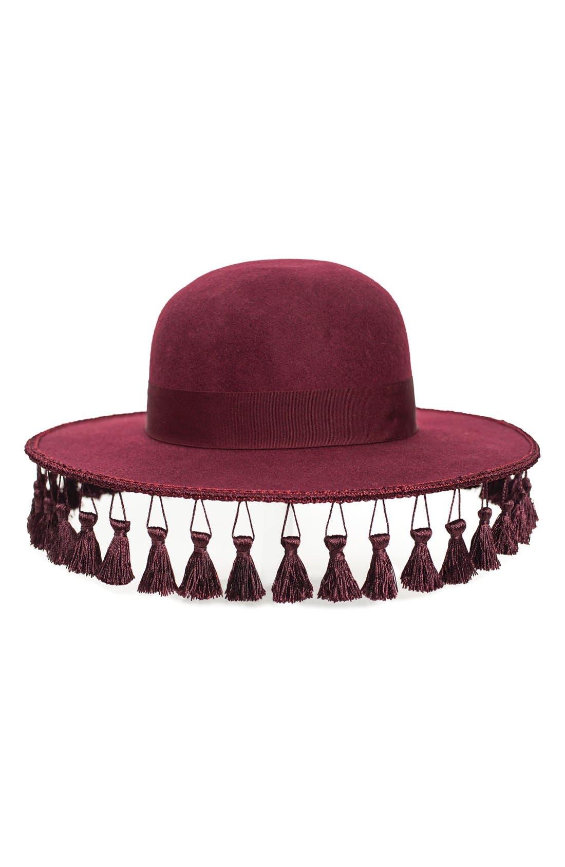 'Sophia' Tassel Brim Hat, Main, color, 930