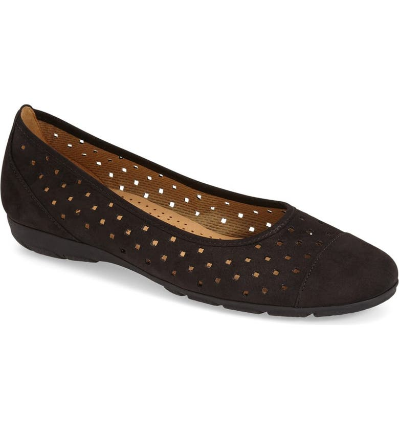 GABOR Perforated Ballet Flat, Main, color, 001