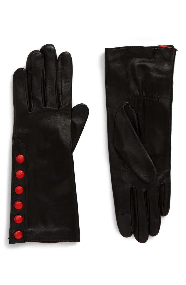AGNELLE Color Pop Button Lambskin Leather Gloves, Main, color, BLACK/ RED