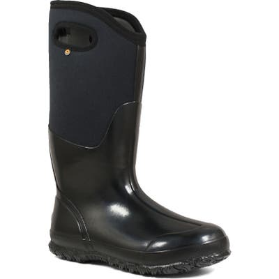 Bogs Classic Tall High Shine Insulated Waterproof Rain Boot, Black