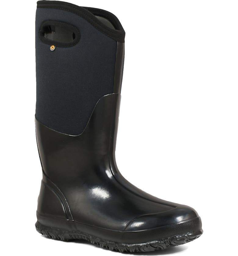 BOGS Classic Tall High Shine Insulated Waterproof Rain Boot, Main, color, BLACK RUBBER