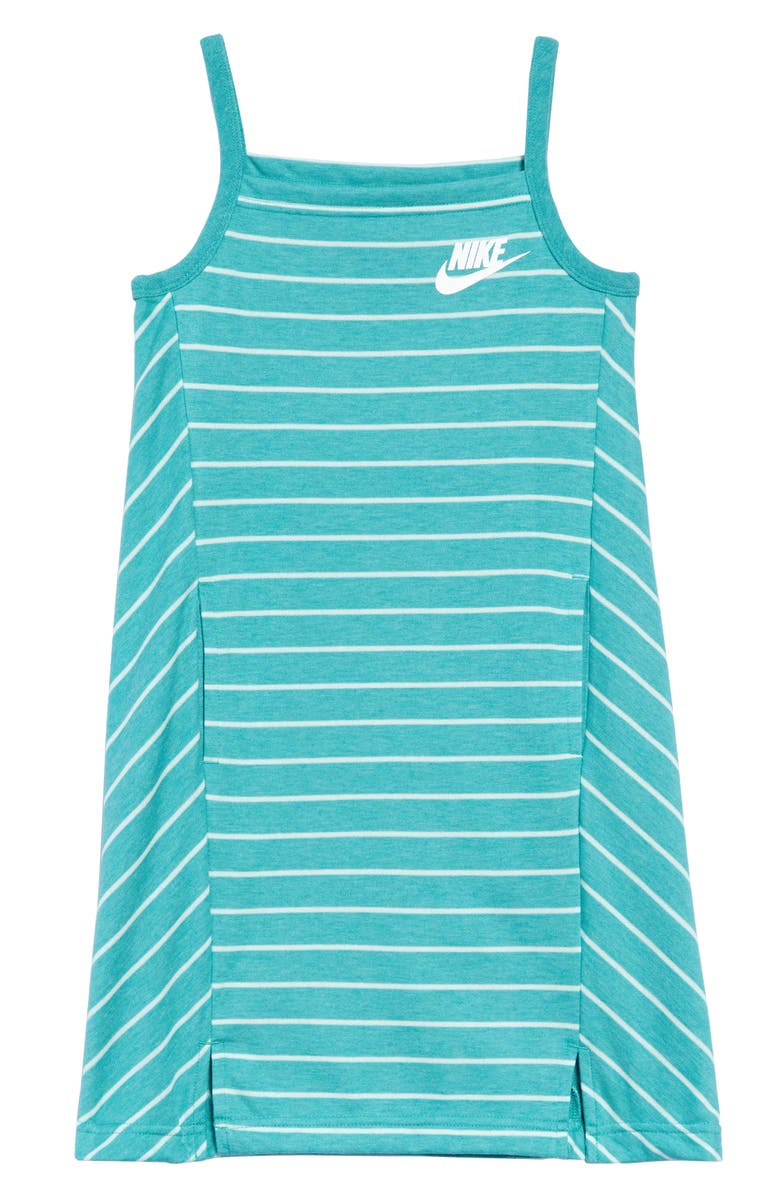 NIKE Sportswear Stripe Tank Dress, Main, color, CABANA/ TEAL TINT/ WHITE