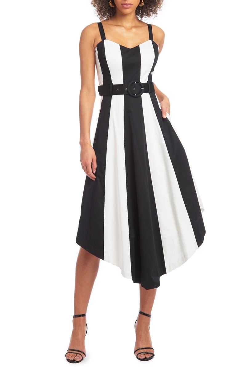 CHRISTIAN SIRIANO Colorblock Handkerchief Sleeveless Midi Dress, Main, color, BLACK/ WHITE