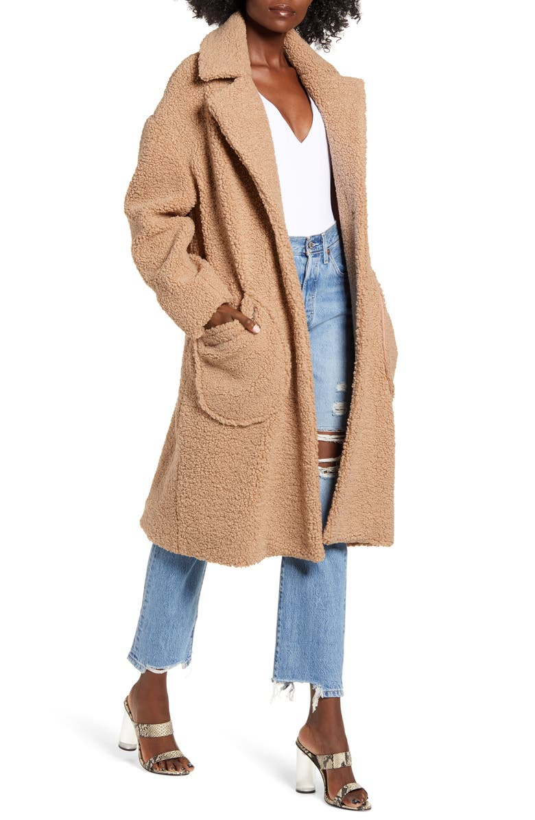 MURAL Cozy Teddy Bear Coat, Main, color, TAN