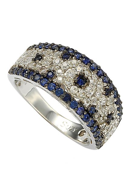 Image of Suzy Levian Sterling Silver Blue Sapphire, Created White Sapphire & Brown Diamond Ring