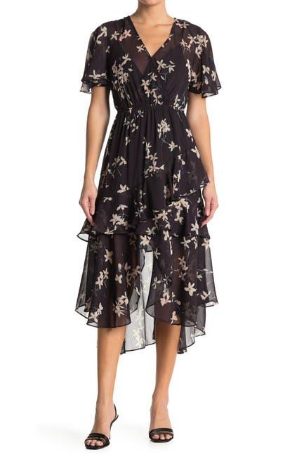 Image of Love Stitch Floral Ruffle Midi Dress