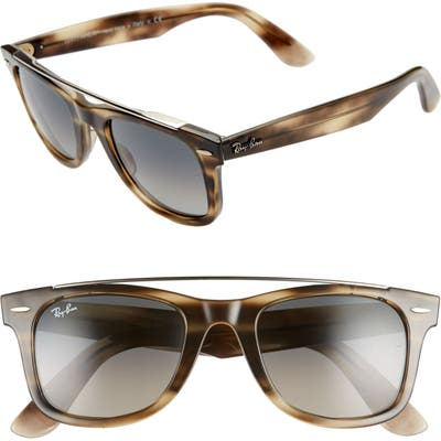 Ray-Ban 50Mm Gradient Square Sunglasses - Dark Brown