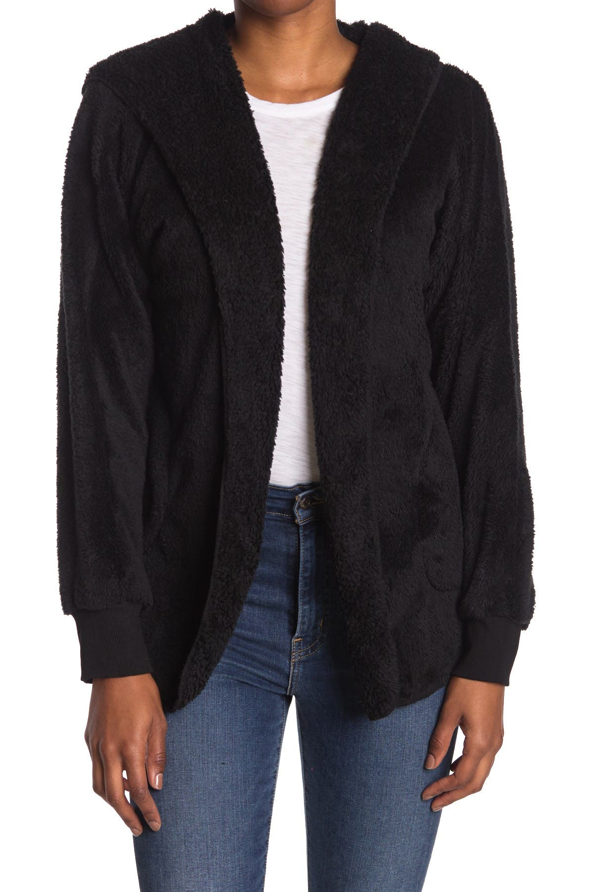 Image of Forgotten Grace Faux Shearling Open Front Cardigan