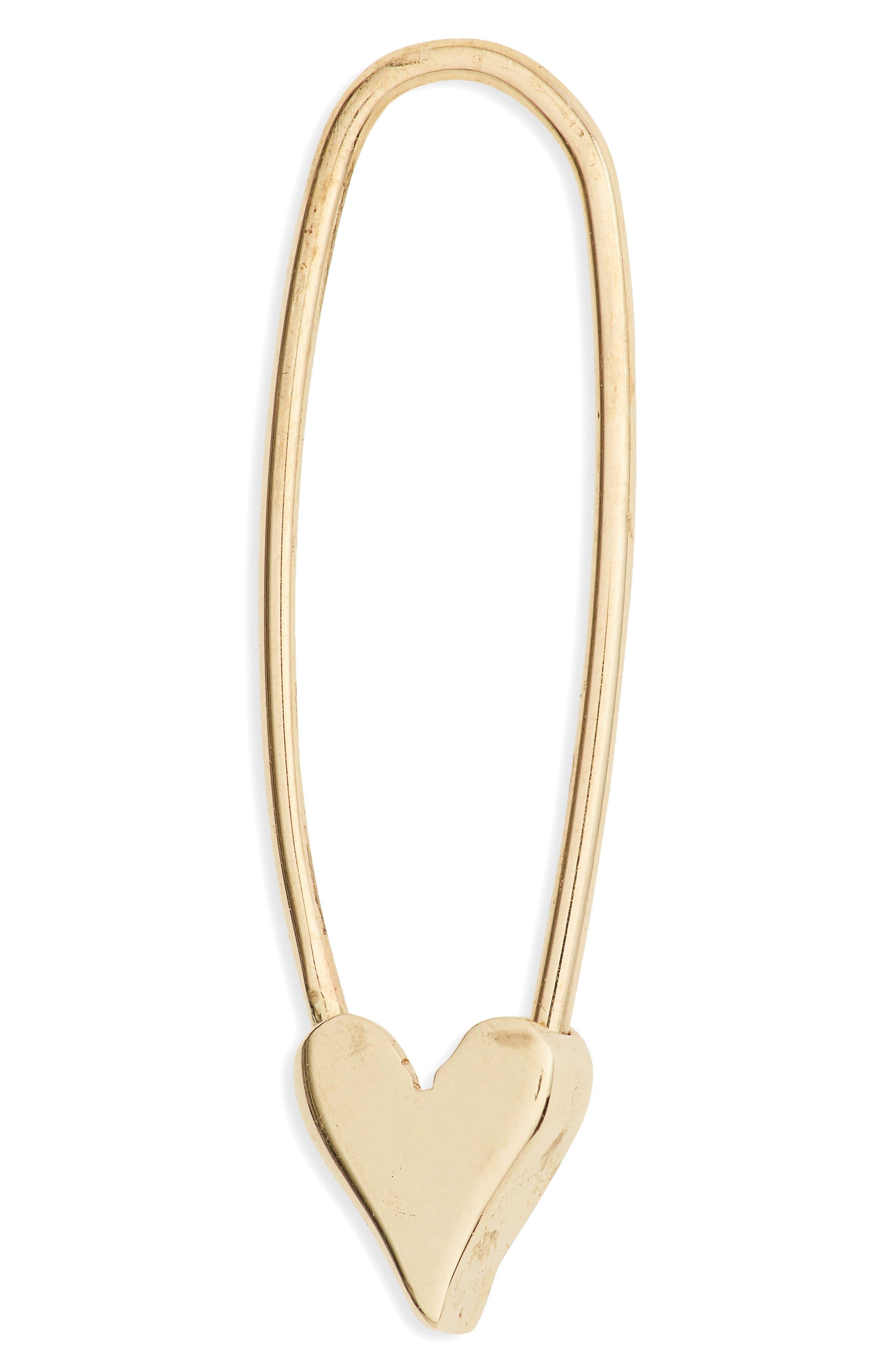 Heart Safety Pin Earrings