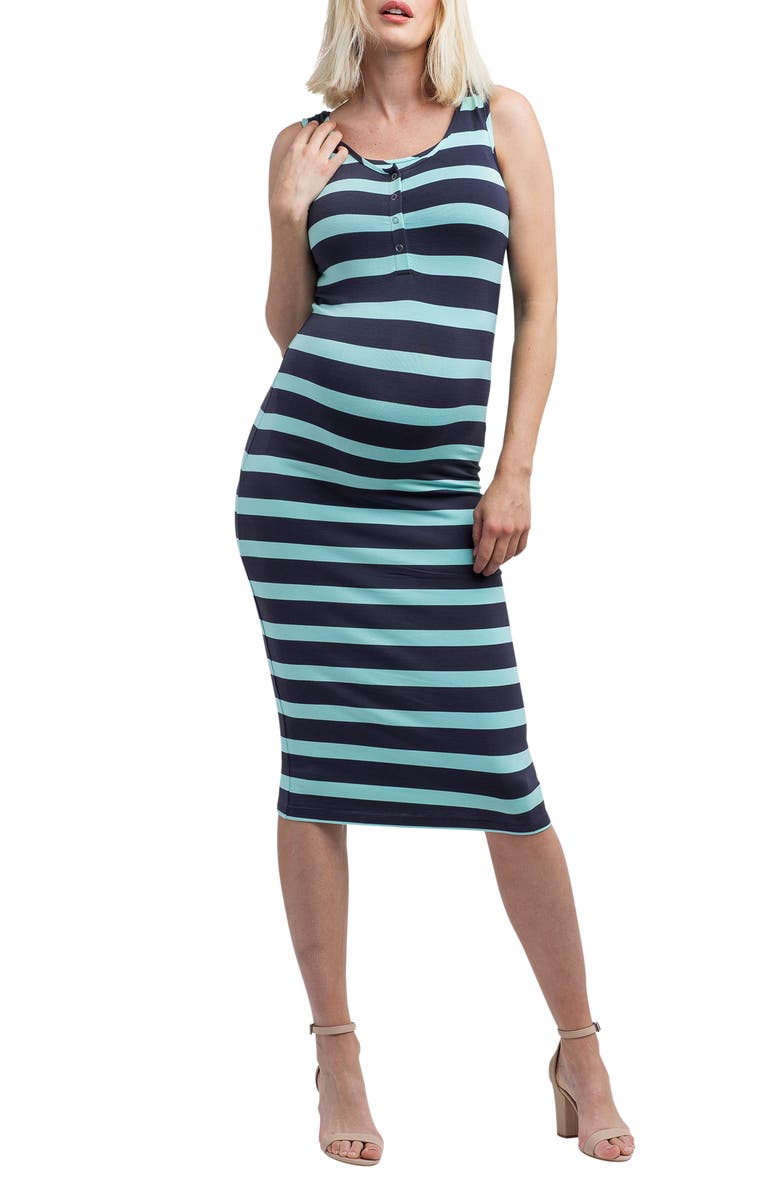 NOM MATERNITY Snap Placket Maternity/Nursing Tank Dress, Main, color, MINT/ SLATE STRIPE